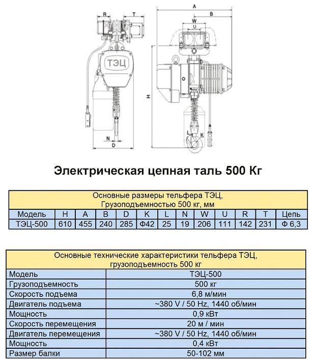 Электрическая цепная таль 500 кг